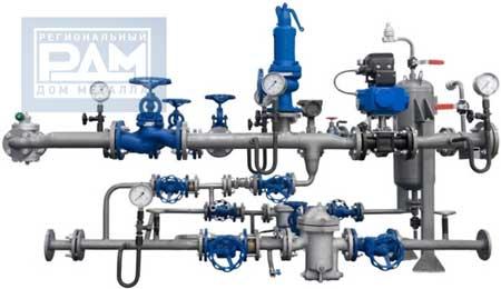 Схема водопровода с применением трубопроводной арматуры