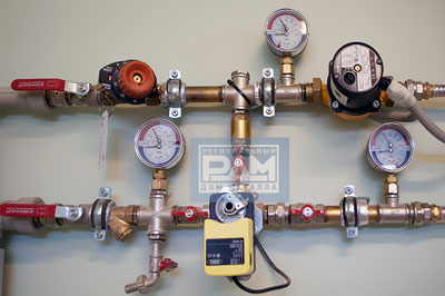 Водопроводный узел с применением регулятора давления воды