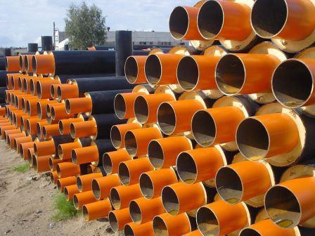 Трубы в ППУ изоляции на складе